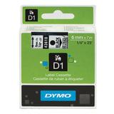 Картридж для принтеров этикеток DYMO D1, 6 мм х 7 м, лента пластиковая, чёрный шрифт, прозрачный фон