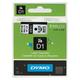 Картридж для принтеров этикеток DYMO D1, 6 мм х 7 м, лента пластиковая, чёрный шрифт, белый фон