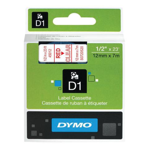 Картридж для принтеров этикеток DYMO D1, 12 мм х 7 м, лента пластиковая, красный шрифт, прозрачный фон