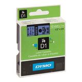 Картридж для принтеров этикеток DYMO D1, 12 мм х 7 м, лента пластиковая, чёрный шрифт, голубой фон