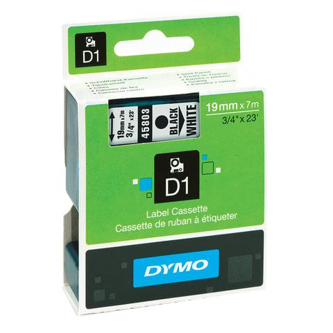 Картридж для принтеров этикеток DYMO D1, 19 мм х 7 м, лента пластиковая, чёрный шрифт, белый фон