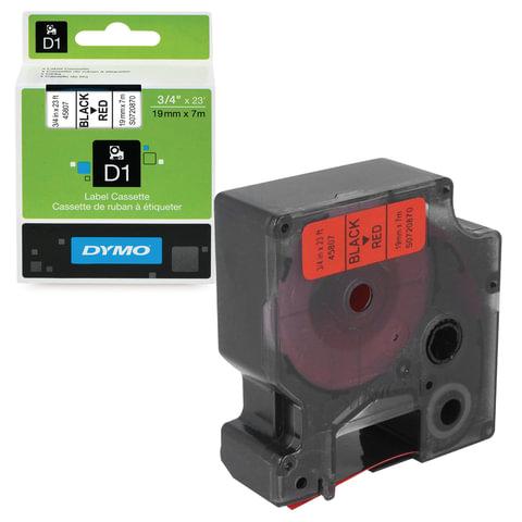 Картридж для принтеров этикеток DYMO D1, 19 мм х 7 м, лента пластик, чёрный шрифт, красный фон