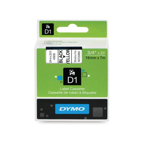 Картридж для принтеров этикеток DYMO D1, 19 мм х 7 м, лента пластиковая, чёрный шрифт, желтый фон