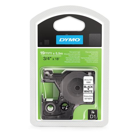 Картридж для принтеров этикеток DYMO D1, 19 мм х 5,5 м, лента полиэстерная, чёрный шрифт, белый фон