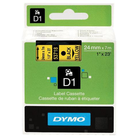 Картридж для принтеров этикеток DYMO D1, 24 мм х 7 м, лента пластиковая, чёрный шрифт, желтый фон