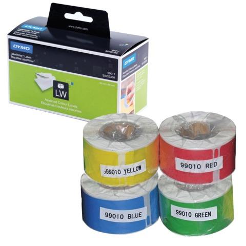 Картридж для принтеров этикеток DYMO Label Writer, этикетка 28х89 мм, в рулоне, 130 шт./рулоне, комплект 4 рулона, ассорти