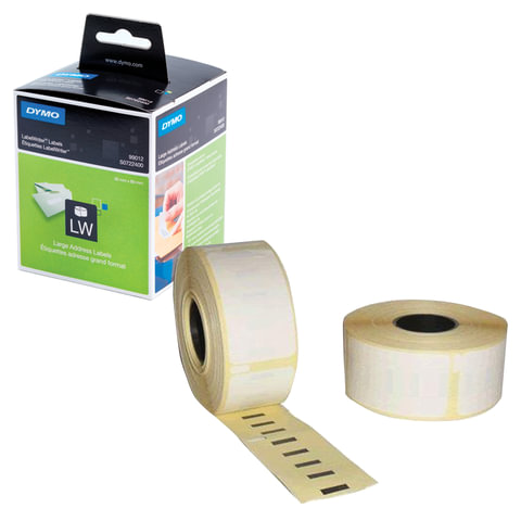Картридж для принтеров этикеток DYMO Label Writer, этикетки 36х89 мм в рулоне, 260 шт./рулоне, комплект 2 рулона, белые