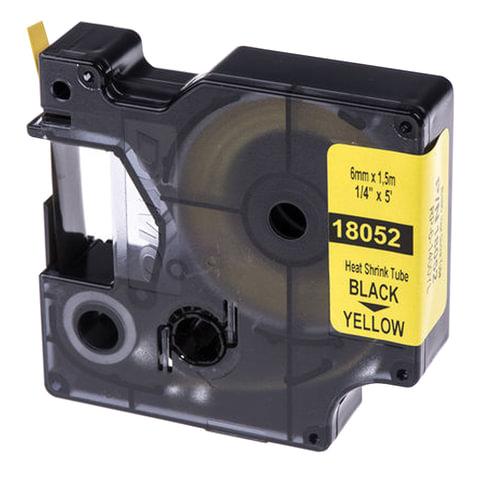 Картридж для принтеров этикеток DYMO Rhino, 6 мм х 1,5 м, термоусадочная трубка, черный шрифт, желтая трубка