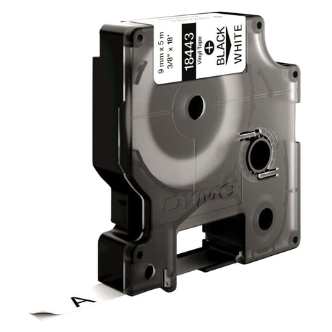 Картридж для принтеров этикеток DYMO Rhino, 9 мм х 5,5 м, лента виниловая, чёрный шрифт, белая
