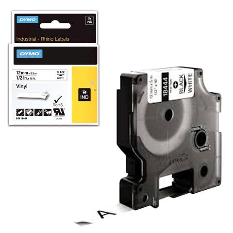 Картридж для принтеров этикеток DYMO Rhino, 12 мм х 5,5 м, лента виниловая, чёрный шрифт, белая