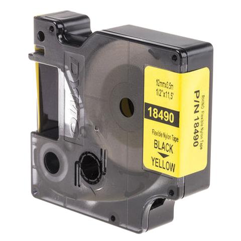 Картридж для принтеров этикеток DYMO Rhino, 12 мм х 3,5 м, лента нейлоновая, чёрный шрифт, неровная поверхность, желтая