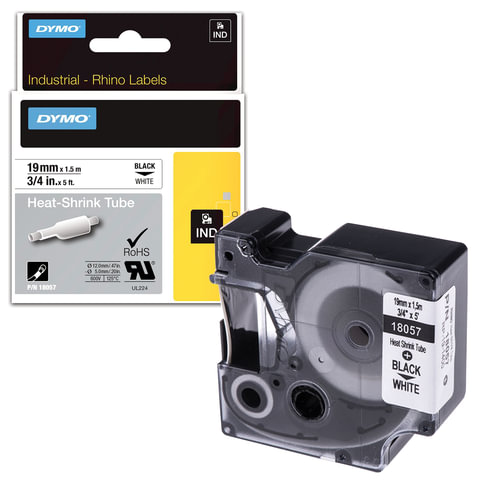 Картридж для принтеров этикеток DYMO Rhino, 19 мм х 1,5 м, термоусадочная трубка, черный шрифт, белая трубка