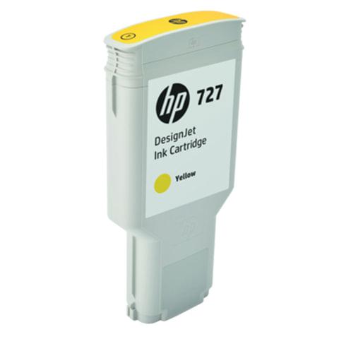 Картридж струйный для плоттера HP (F9J78A) DesignJet T1500/<wbr/>T920/<wbr/>T2500, №727, 300 мл, желтый, оригинальный