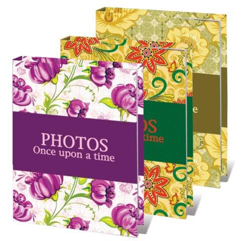 Фотоальбом BRAUBERG (БРАУБЕРГ) на 36 фотографий 10×15 см, твердая обложка, яркие узоры, ассорти