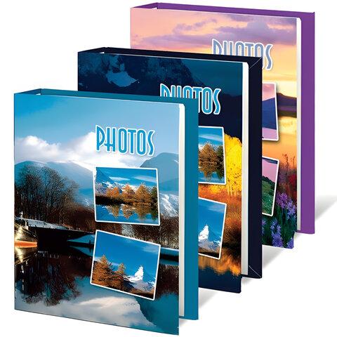 Фотоальбом BRAUBERG (БРАУБЕРГ) на 60 фотографий 10×15 см, твердая обложка, природа, ассорти