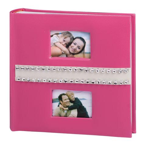 Фотоальбом BRAUBERG (БРАУБЕРГ) на 200 фотографий 10×15 см, индивидуальный бокс, бумажные страницы, 2 рамки для фотографий, розовый