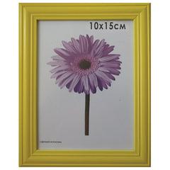 Рамка премиум 10×15 см, дерево, багет 26 мм, «Linda», желтая, подставка