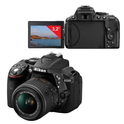 "Фотоаппарат зеркальный NIKON D5300, 18-55 мм, VR II, 24 Мп, 3,2"" ЖК-монитор поворотный, Full HD, Wi-Fi, GPS"