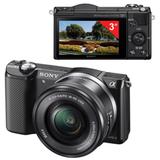"""Фотоаппарат системный SONY ILCE A5000LB, 16-50 мм, 20,1 Мп, 3 """"ЖК-монитор поворотный, Wi-Fi, NFC, черный"""
