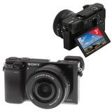 """Фотоаппарат системный SONY ILCE A6000LB, 16-50 мм, 24 Мп, 3"""" ЖК-монитор поворотный, Wi-Fi, NFC"""