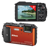 "Фотоаппарат компактный NIKON CoolPix AW130, 16 Мп, 5хzoom, 3"" ЖК-монитор, Full HD, водонепроницаемый, оранжевый"