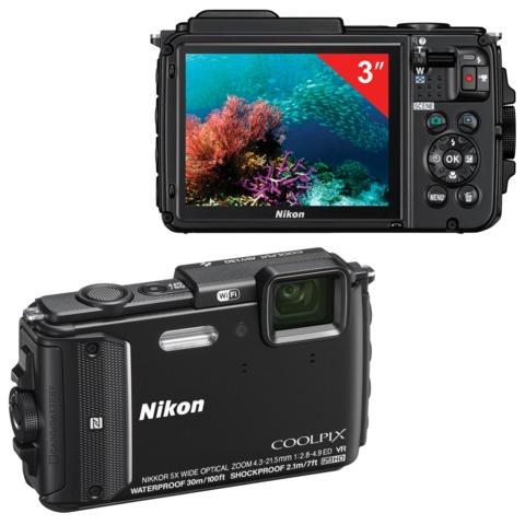 """Фотоаппарат компактный NIKON CoolPix AW130, 16 Мп, 5хzoom, 3"""" ЖК-монитор, Full HD, водонепроницаемый, черный"""