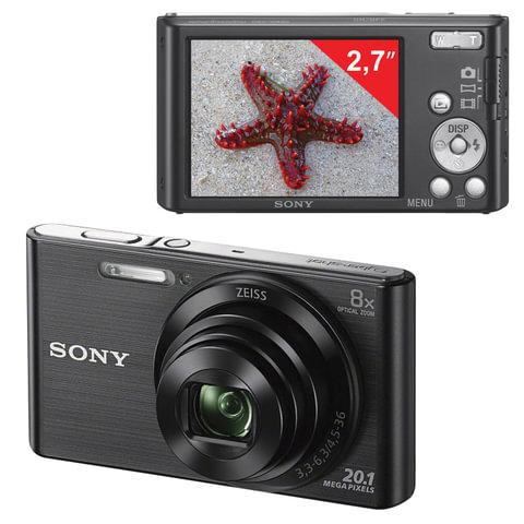 "Фотоаппарат компактный SONY Cyber-shot DSC-W830, 20,4 Мп, 8x zoom, 2,7"", ЖК-монитор, черный"