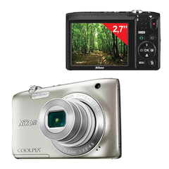 "Фотоаппарат компактный NIKON CoolPix А100, 20,1 Мп, 5x zoom, 2,7"" ЖК-монитор, HD, серебристый"