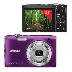 """Фотоаппарат компактный NIKON CoolPix А100, 20,1 Мп, 5x zoom, 2,7"""" ЖК-монитор, HD, фиолетовый"""