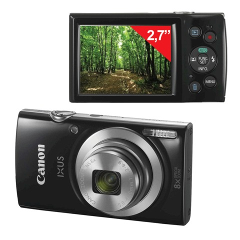 "Фотоаппарат компактный CANON IXUS 177, 20 Мп, 8х zoom, 2,7"" ЖК-монитор, HD, черный"