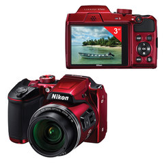 "Фотоаппарат компактный NIKON CoolPix B500, 16 Мп, 40x zoom, 3"" ЖК-монитор, Full HD, Wi-Fi, NFC, красный"
