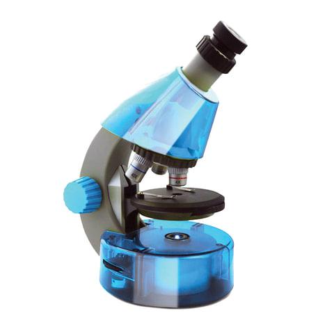 Микроскоп детский LEVENHUK LabZZ M101 Azure, 40-640 кратный, монокулярный, 3 объектива