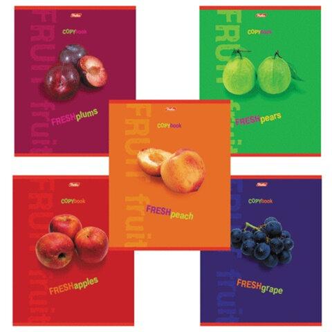Тетрадь 80 л., А4 HATBER, клетка, выборочный лак, «Fresh Fruit» («Фрукты»)