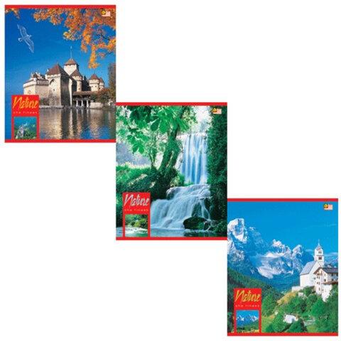 Тетрадь 48 л., HATBER VK, клетка, обложка мелованный картон, «Пейзажи»