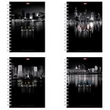 Тетрадь 96 л., А4 HATBER, гребень, клетка, выборочный лак, «Ночной город»