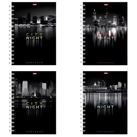 Тетрадь 96 л., А4 HATBER, гребень, клетка, выборочный лак, «Ночной город», 96Т4влВгр