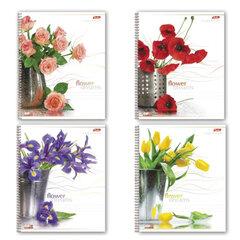 Тетрадь 96 л., HATBER, гребень, клетка, выборочный лак, «Цветы», 96Т5влС1гр