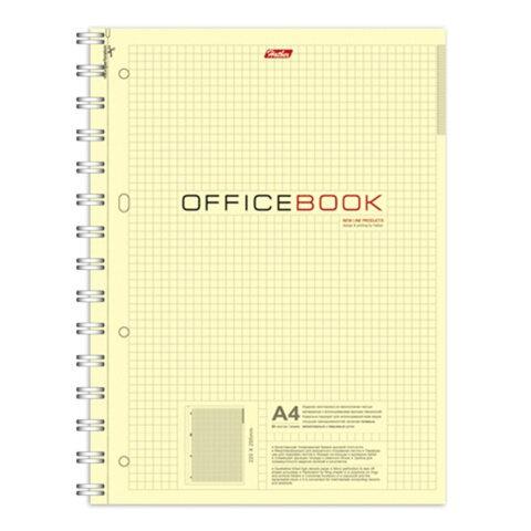 Тетрадь 80 л., А4 HATBER, гребень, клетка, выборочный лак, «Office Book» («Офисная»)
