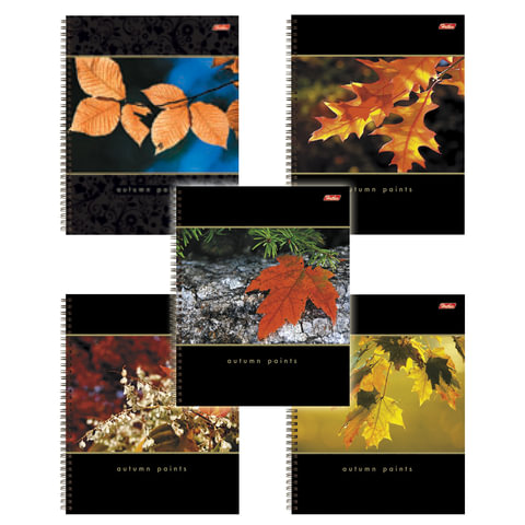 Тетрадь 96 л., А4 HATBER, гребень, клетка, выборочный лак, «Nature» («Листья»)