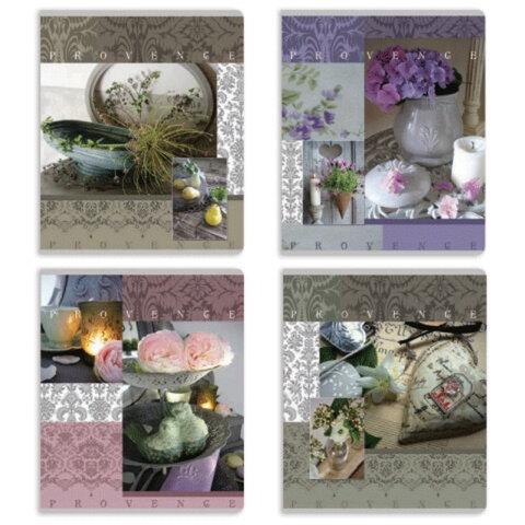 Тетрадь 96 л., ERICH KRAUSE, клетка, обложка мелованный картон, «Provence» («Провинция»)