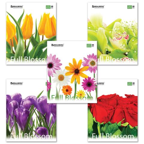 """Тетрадь 48 л. BRAUBERG ЭКО, клетка, обложка мелованный картон, """"Full Blossom"""", 5 видов"""