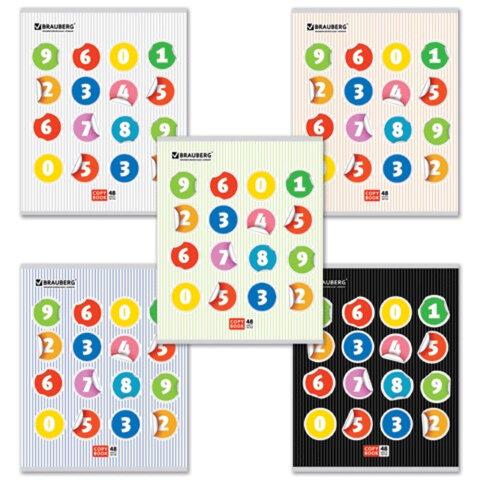 Тетрадь 48 л. BRAUBERG (БРАУБЕРГ) «ЭКО», клетка, обложка мелованный картон, «Digital» («Числа»), 5 видов