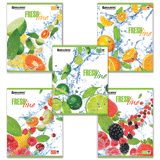 Тетрадь 48 л. BRAUBERG (БРАУБЕРГ), клетка, выборочный лак, «Fresh Line» («Фрукты»), 5 видов