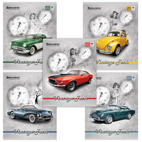 Тетрадь 48 л. BRAUBERG (БРАУБЕРГ), клетка, обложка + УФ лакирование, «Vintage Tech» («Автолегенды»), 5 видов