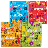 Тетрадь 96 л. BRAUBERG (БРАУБЕРГ), гребень, клетка, 4 обложки, «Numeric» («Цифры»)