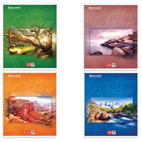 Тетрадь 48 л. BRAUBERG (БРАУБЕРГ), клетка, обложка мелованный картон, «Natural Harmony» («Природа»), 4 вида