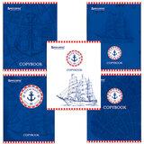 Тетрадь 48 л. BRAUBERG ЭКО, линия, обложка мелованный картон, «Royal Navy», 5 видов