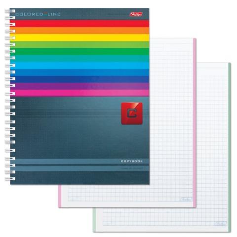 Тетрадь 120 л., HATBER, 7БЦ, 4-х цветная, гребень, клетка, «Colored_Line» («Линии»)