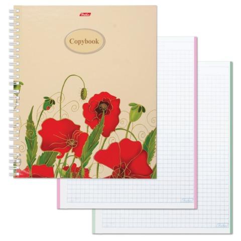 Тетрадь 120 л., HATBER, 7БЦ, 4-х цветная, гребень, клетка, «Red on White»