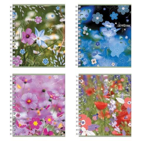 Тетрадь 60 л., ERICH KRAUSE, гребень, клетка, обложка мелованный картон, «Полевые цветы»